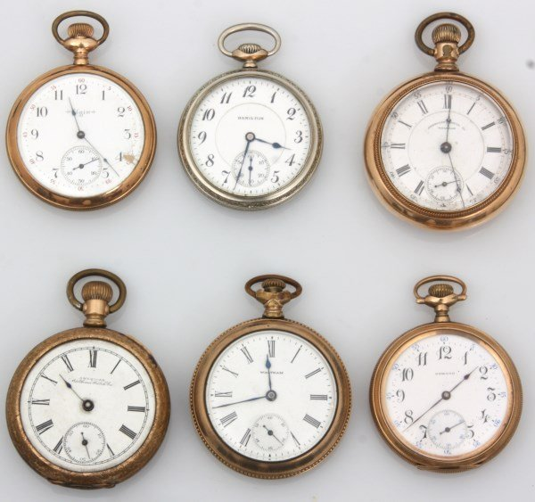 6 American Gold Filled Pocket Watches