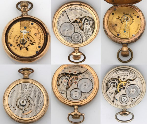 6 American Gold Filled Pocket Watches - 8