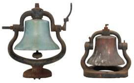 2 Bronze And Cast Iron Train Bells