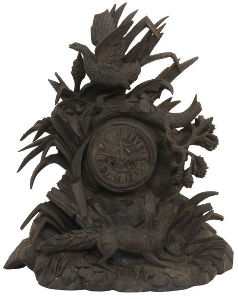 Black Forest Carved Mantle Clock