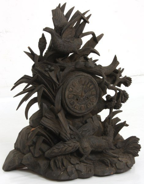 Black Forest Carved Mantle Clock - 5