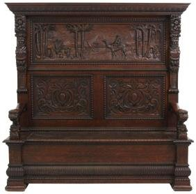 Unusual American Carved Oak Hall Bench