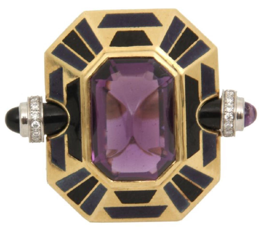18K Cartier Deco Amethyst Cocktail Ring