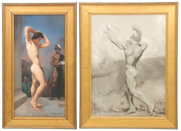 2 John LeGrand O/B Male Nude Paintings