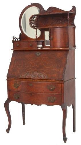 Unusual Oak Slant Front Cowgirl Desk