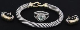3 Pcs. David Yurman Sterling Cable Jewelry