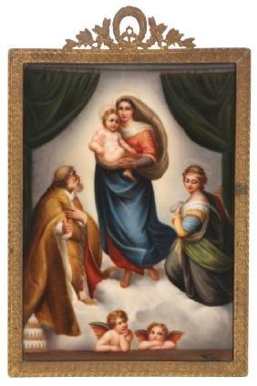 Hutschenreuther Porcelain Plaque – Sistine Madonna
