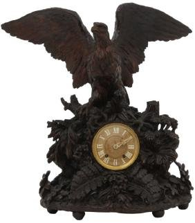 Tiffany Makers Black Forest Eagle Mantle Clock