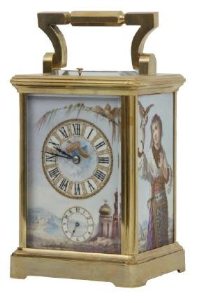 French Porcelain Panel Repeater Carriage Clock
