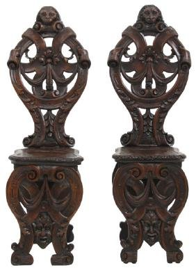 Pr. Pierced Carved Walnut Hall Chairs
