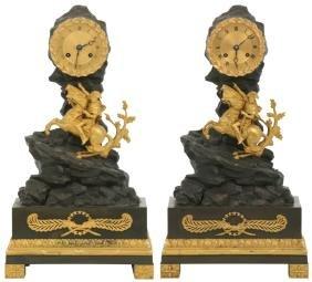 Pr. Bronze Napoleon Silk Thread Mantle Clocks