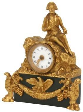 Miniature Napoleon Bronze Desk Clock