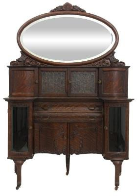 Exceptional Carved Oak Buffet Server