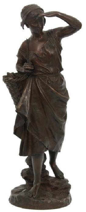 E. Laurent Bronze Fisher Woman