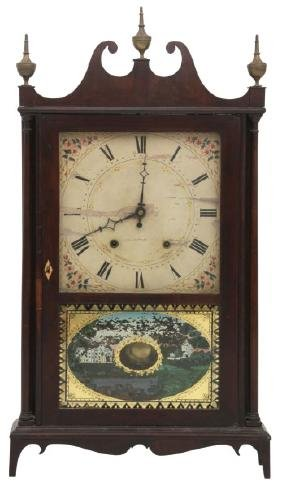 E. Terry & Sons Wooden Works Pillar & Scroll Clock