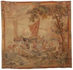 19th Century Tapestry With Ship Scene