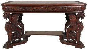 RJ Horner Griffin Carved Mahogany Partners Desk