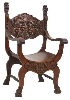 Oak Griffin Carved Armchair