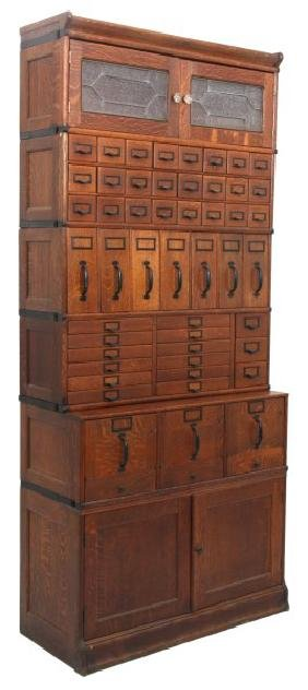 Oak Globe-Wernicke Sectional Stacking File Cabinet