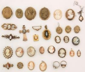 44 Pcs. Cameo , Lava Cameo & Black Cameo Jewelry