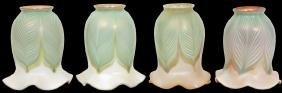 4 Quezal Pulled Feather Art Glass Shades