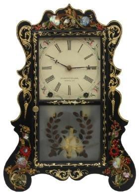 E.C. Brewster Black Lacquer Mantle Clock