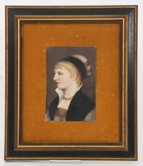 Hand Painted Portriat Plaque - German Bride