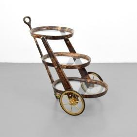 Aldo Tura Goat Skin Bar Cart
