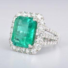 18K Gold, Diamond & Emerald Ring, GIA