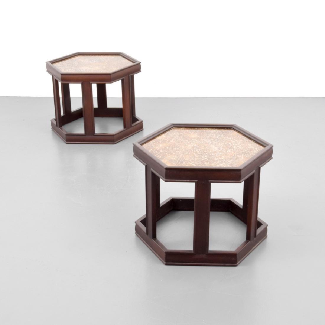 Pair of John Keal Hexagonal Side Tables