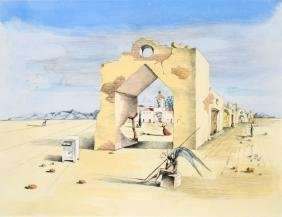 Salvador Dali PARANOIC VILLAGE Lithograph, Limited Ed.