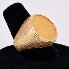 US Gold Coin Vintage Estate Ring, 1854