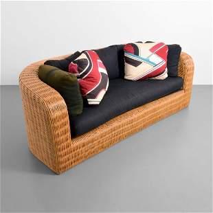 Karl Springer Wicker Pullman Sofa