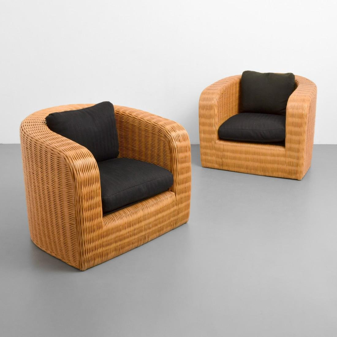 Pair Of Karl Springer Custom Wicker Pullman Chairs
