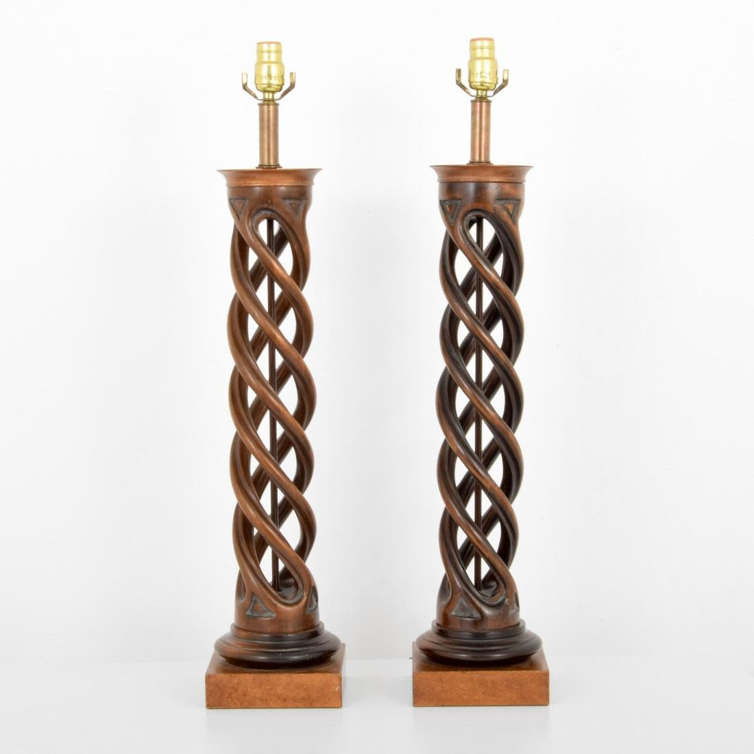 pair of frederick cooper helix table lamps