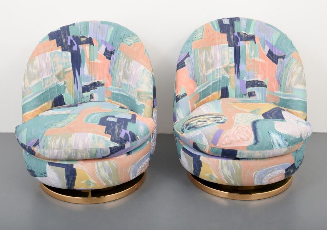 Pair of Milo Baughman Swivel Lounge Chairs - 2
