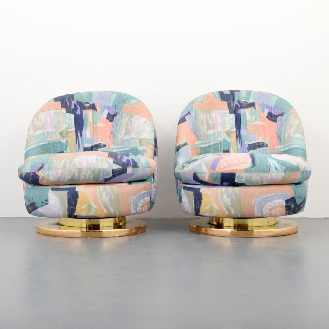 Pair of Milo Baughman Swivel Lounge Chairs - 3