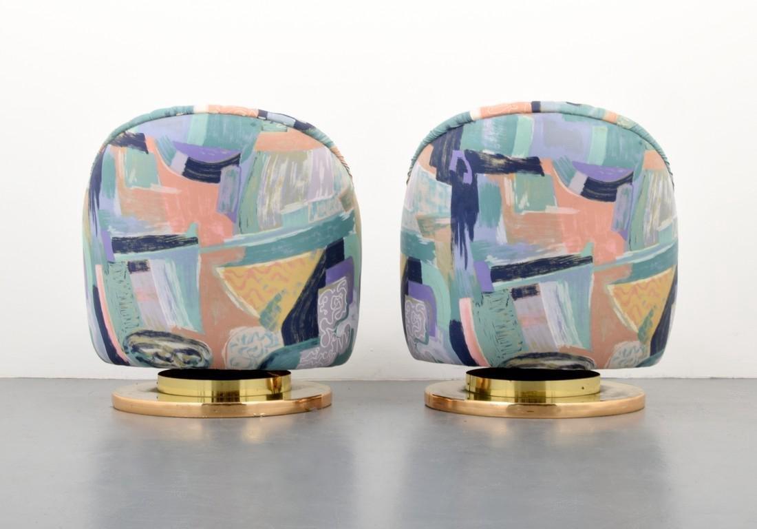 Pair of Milo Baughman Swivel Lounge Chairs - 4