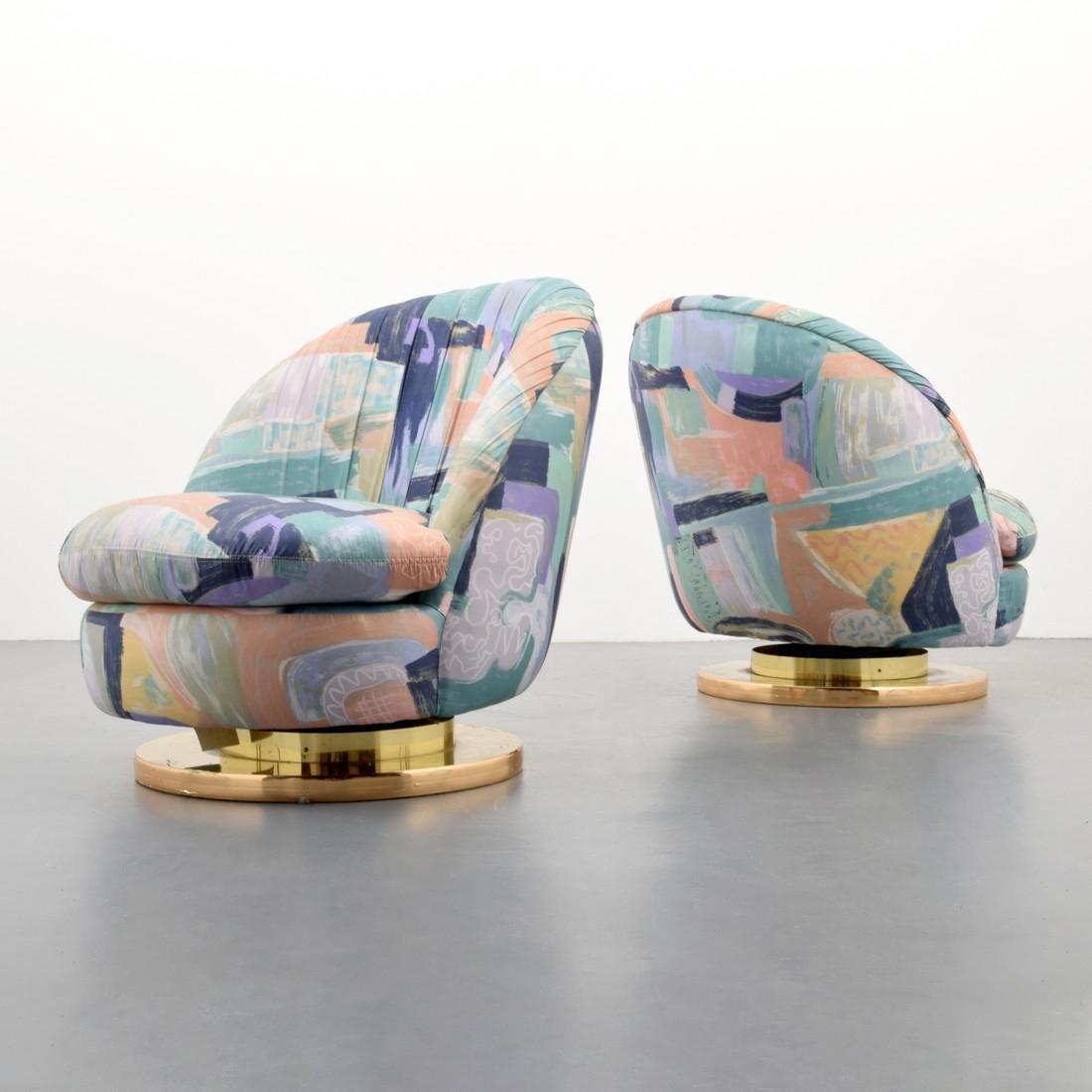 Pair of Milo Baughman Swivel Lounge Chairs - 9