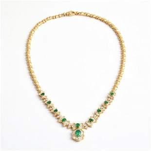 14K Yellow Gold Diamond Emerald Estate Necklace