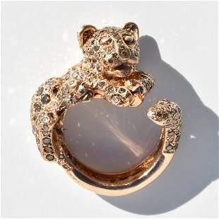 18K Rose Gold Chocolate Diamond Vintage Estate Ring