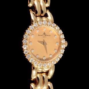 Baume Mercier 18K Yellow Gold Diamond Estate Watch