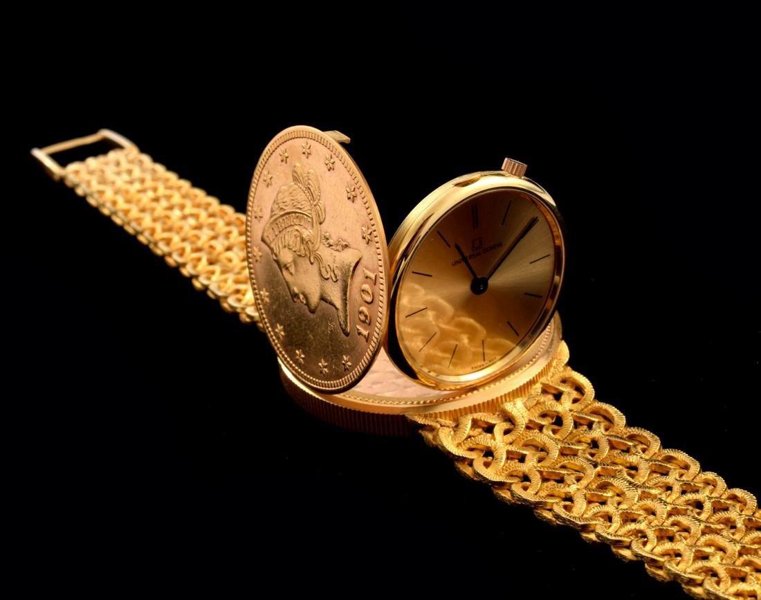 18K Yellow Gold Universal Geneve Vintage Estate Watch - 5