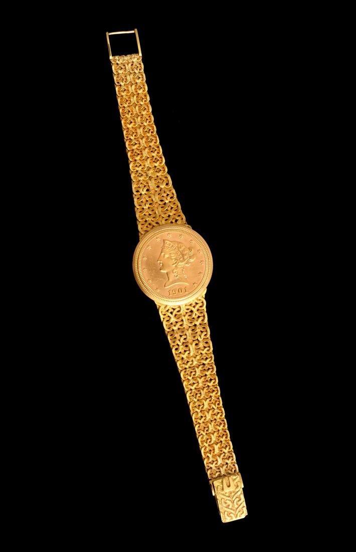 18K Yellow Gold Universal Geneve Vintage Estate Watch - 7