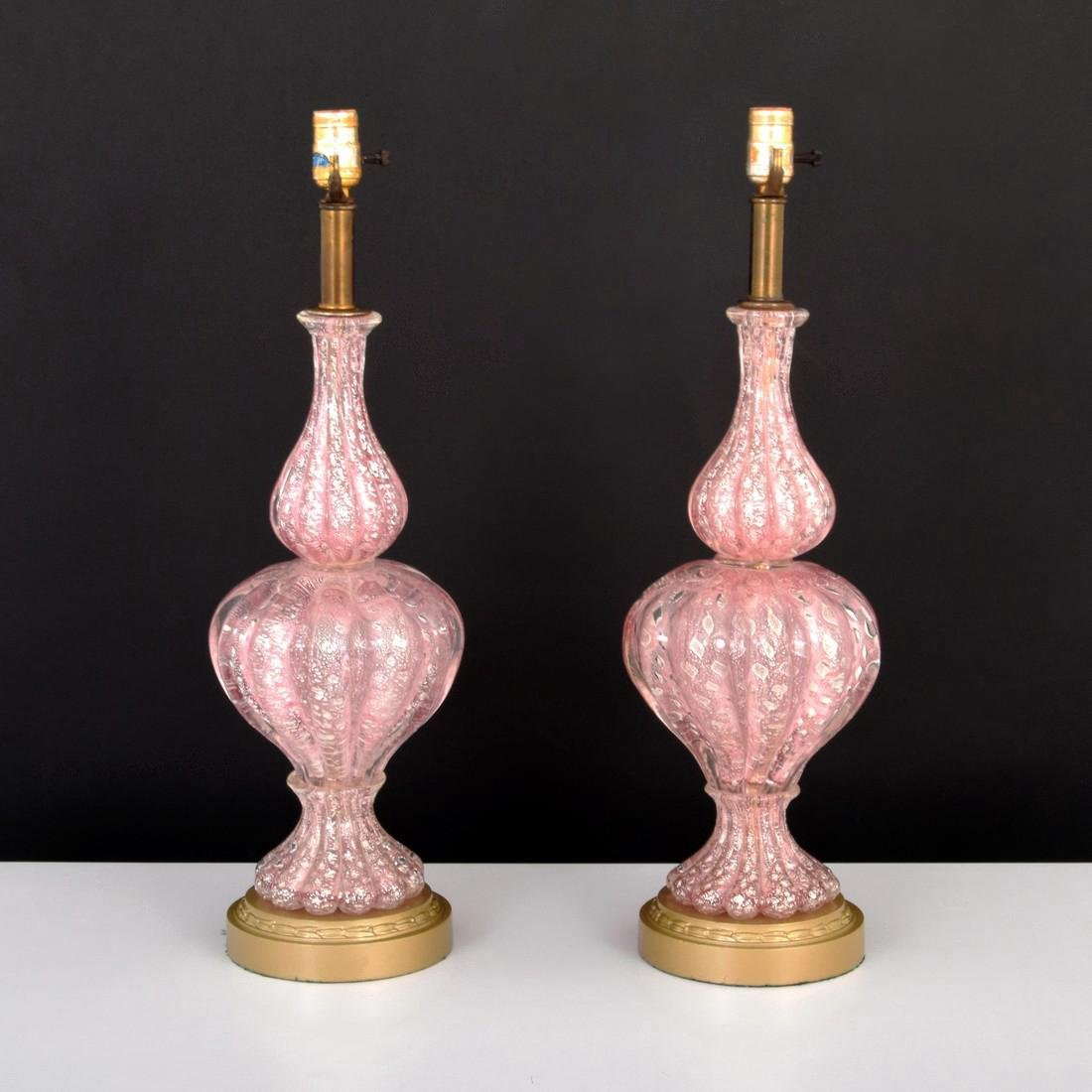 Pair of Large Lamps Attributed to Barovier & Toso