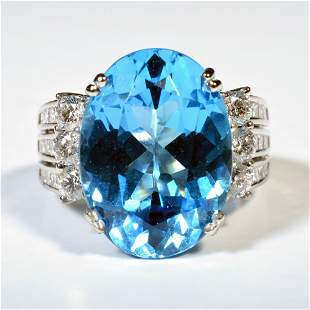18K White Gold Diamond Blue Topaz Vintage Estate Ring