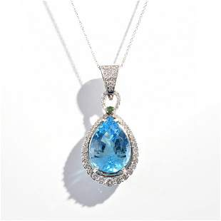 18K White Gold Diamond Blue Topaz Estate Pendant