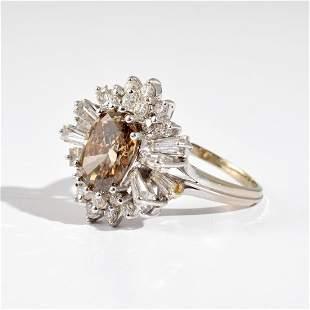 14K White Gold Chocolate Diamond Vintage Estate Ring