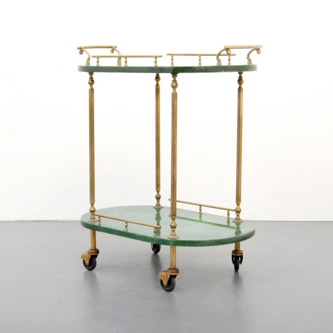 Aldo Tura Goatskin Tea Cart
