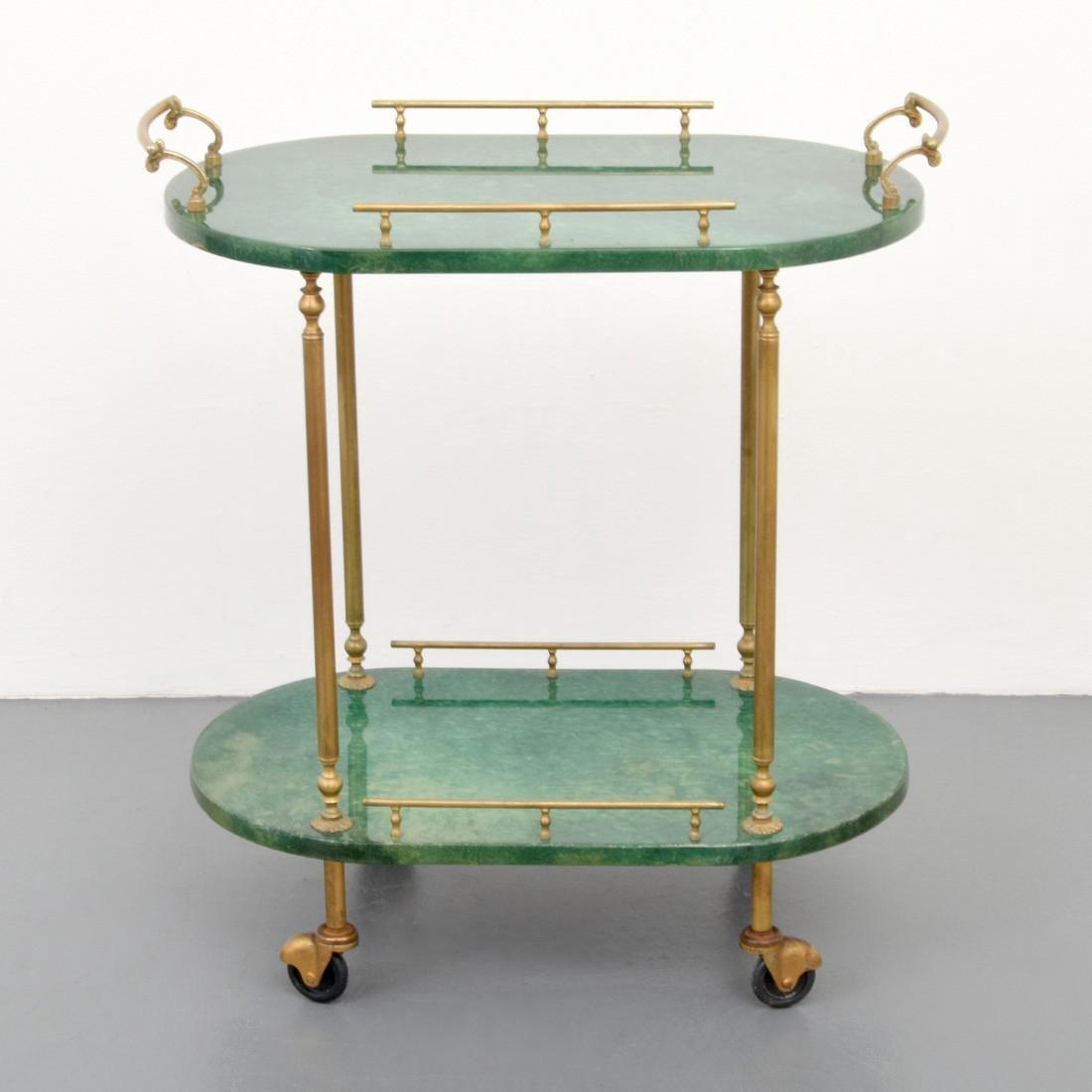 Aldo Tura Goatskin Tea Cart - 2